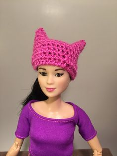 Pink pussy cat hat for Barbie Silkstone Fashion Royalty