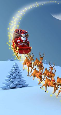 Santa on Christmas Eve – Wallpaper Natal, Fath… – wallpaper winter Father Christmas, Christmas Love, Winter Christmas, Vintage Christmas, Christmas Wishes, Christmas Greetings, Beautiful Christmas, Christmas Ideas, Christmas Cards