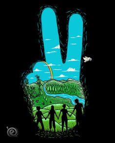 Los muchachos peronistas en marcha a un mundo mejor. ¿O era la paz? Digo, por la paloma.