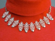 Eloxal Filigree Choker Necklace Vintage