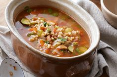 Hearty vegetable and barley soup