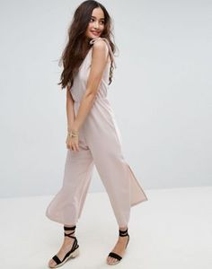 f3700ac704bc ASOS Minimal Jumpsuit in Jersey with Elasticated Waist  40 Long Jumpsuits