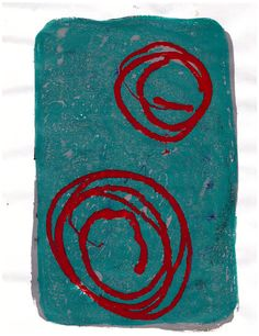Teal with Red Circles monotype one-of-a-kind ooak handpulled print on acid free paper. Handmade gelatin plate, gelli plate, cool colors, red