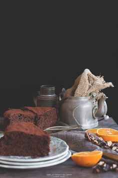 Torta al cioccolato, noci ed arance