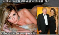 Anti-Donald Trump ads criticize Melania for nude photo shoot #DailyMail Look at how desperate Cruz supporters are...the best thing they have against Trump is his beautiful wife posing for a magazine. Is Cruz going to disavow this?