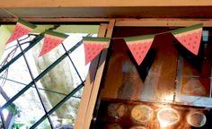 banderines de papel impreso sandias