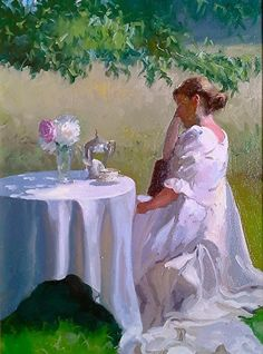 """Under the Dogwood by Dennis Perrin Oil ~ 24"""" x 18"""""""