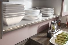 With nobilia lighting systems you can light up your work space perfectly, but also create a pleasant ambiance. Under Cabinet Lighting, Can Lights, Lighting System, Downlights, Kitchen Appliances, Kitchens, Light Up, Lightning, Palazzo