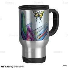 ASL Butterfly 15 Oz Stainless Steel Travel Mug