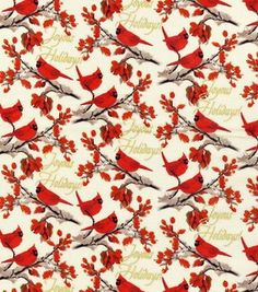Holiday Inspirations Christmas Fabric Vintage Holiday Cardinals