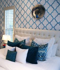Stenciled Bedroom Wall | Large Moorish Trellis Stencil | Project Design by Trent Hultgren