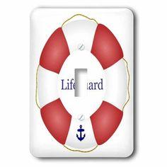 3dRose Lifeguard lifesaver Swimming pool life saver preserver - sea beach life guard red and white float, Single Toggle Switch