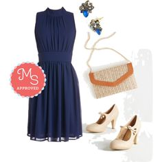 In this outfit: Windy City Dress in Navy, The Shine is Now Earrings, At All Coasts Bag, Jive O'Clock Somewhere Heel #dresses #chiffon #party #cocktail #ModCloth #ModStylist #fashion