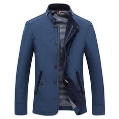 Casual Business Personality Stand Collar With Zipper Slim Fit Jacket For Mensales-NewChic Mobile.
