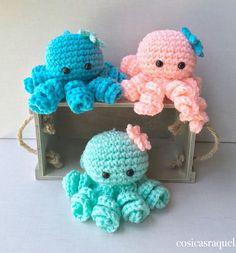 Crochet For Boys, Diy Crochet, Crochet Toys, Octopus Crochet Pattern, Crochet Dolls Free Patterns, Crochet Christmas Decorations, Crochet Decoration, Crochet Dragon, Knitted Cat