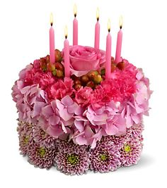 Pink Fresh Flowers Cake Shape With CandelsPNG Birthday Happy