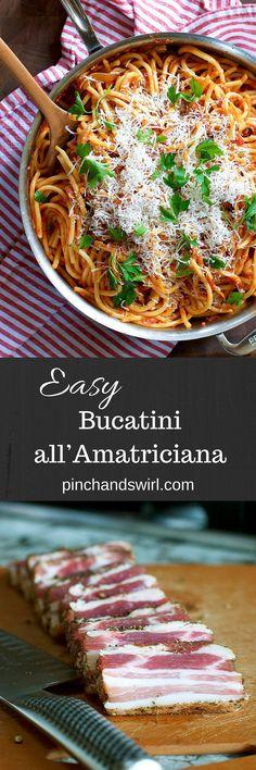 Easy Bucatini All'Amatriciana... Easy Pasta Recipes | Authentic Italian Recipes | Recipe with Pancetta