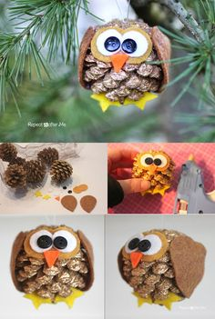 Felt Ornaments with Pattern Rustic Wood Ornaments Cupcake liner owl ornament Glitter owl Christmas ornamen. Christmas Owls, Christmas Time, Christmas Crafts, Christmas Decorations, Christmas Ornaments, Owl Crafts, Preschool Crafts, Diy Crafts For Kids, Pinecone Owls