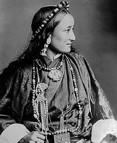 """""""Tibetan Lady wearing lhasa style of dress"""". 