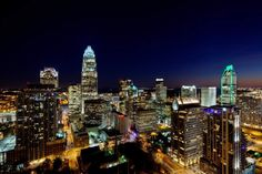 Road Trip! Destination: Charlotte, N.C. Close-in photography of the Charlotte NC skyline, taken at sunset.