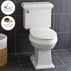 $279 View the Miseno MNO240C Two-Piece High Efficiency Toilet with Elongated Comfort Height Bowl, Slow Close Seat, Decorative Trip Lever and Wax Ring (1.28 GPF) at FaucetDirect.com.