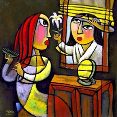 Annunciation - He Qi Angel tells Mary that she will have a child Pigeon, Sunday School Stories, Joseph, The Birth Of Christ, Immaculate Conception, Holy Week, Christmas Paintings, Religious Art, Our Lady