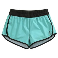 Women's Clothing, Swimsuits & Cover Ups, Board Shorts, Women Stretch Shorts Turquoise X Small - Turquoise - Shorts Board Shorts Women, Shorts Outfits Women, Casual Skirt Outfits, Mode Outfits, Sexy Outfits, Short Niña, Bollywood Outfits, Swimming Outfit, Slippers For Girls