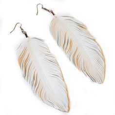 Dove  Faux Leather Feather Earrings  Surgical Steel by lovesexton, $22.00