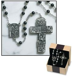 Ghirelli Vatican Museums Silver Sistine Chapel Rosary with Hematite Prayer Beads