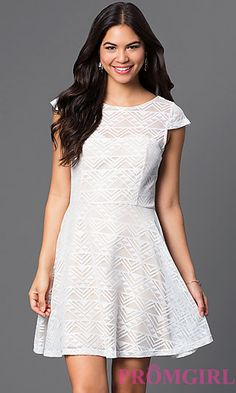 Short Ivory Lace Dress with Cap Sleeves at PromGirl.com