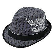 Fedora Hat with beautiful skull foil print decor and elastic sweatband --- Polyester Plaid Fedora hat w/ Black Trim --- $8.55