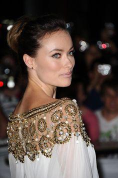 Olivia Wilde grecian dress. White + gold + lace