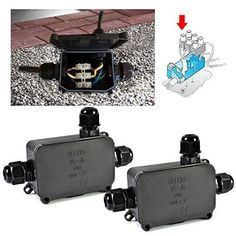2 Pcs Waterproof External Junction Box 3 Cable Connector Underground Sleeve IP66