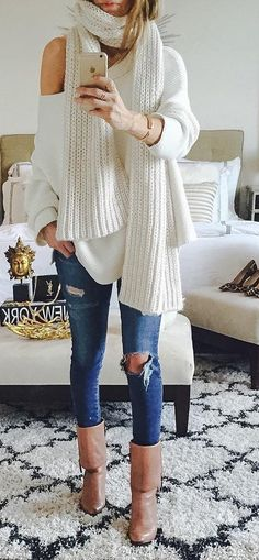 #outfit #ideas · Sweater And Scarf #zara // Destroyed Jeans // Leather Ankle Boots