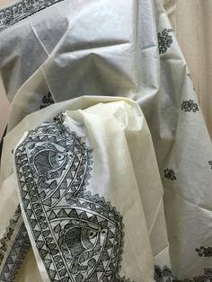 From Ivory Worli Painting, Saree Painting, Kerala Mural Painting, T Shirt Painting, Fabric Painting, Fabric Art, Madhubani Art, Madhubani Painting, Hand Painted Sarees
