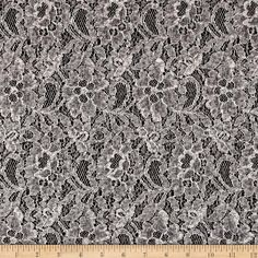 Sweater Knit Winter Memory Lace Grey/Ivory from @fabricdotcom  Delicate and classic, this sweater knit fabric has a lace overlay with no significant stretch. This knit fabric is appropriate for sweaters, dresses, skirts, jackets, wraps or shrugs.