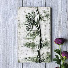 Green Honeysuckle plaster cast tile