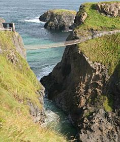 Carrick-a-Rede Rope Bridge- 65 ft long between cliffs in Antrim, Northern Ireland