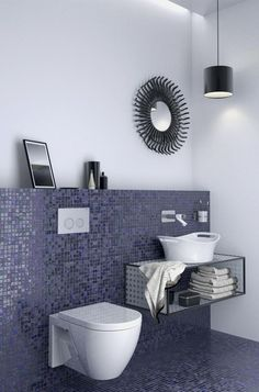 Contemporary bathroom design with amazing in-wall toilet system