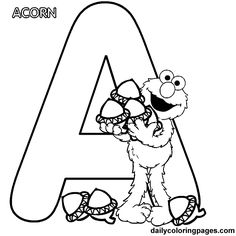 Sesame street alphabet coloring page featuring Elmo with Acorn Elmo Coloring Pages, Sesame Street Coloring Pages, Letter A Coloring Pages, Coloring Letters, School Coloring Pages, Coloring Pages To Print, Printable Coloring Pages, Coloring For Kids, Coloring Pages For Kids