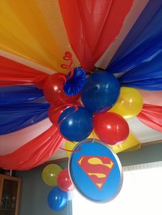 Superhero party! Tablecloth ceiling decor