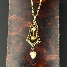 Victorian Gold Pearl Lavaliere Necklace