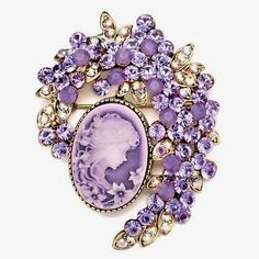 Pugster Antique Vintage Victorian Rhinestone Floral Oval Cameo Brooch Pin in Jewelry & Watches, Fashion Jewelry, Pins & Brooches Cameo Jewelry, Antique Jewelry, Vintage Jewelry, Jewelry Design, Purple Jewelry, Amethyst Jewelry, Bijoux Art Deco, Instagram Baddie, Diamond Brooch