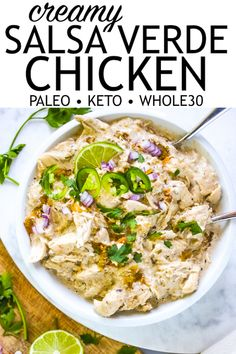 Just Jessie B: Creamy Salsa Verde Chicken Chicken Verde, Salsa Chicken, Chicken Meals, Shredded Chicken, Chicken Recipes, Salsa Verde, Paleo Whole 30, Whole 30 Recipes, Paleo Recipes