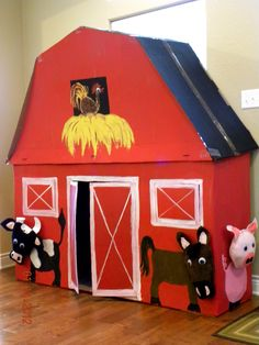 Big Barn out of cardboard for my son's birthday. (Mom-in-law made it!) She made pillow heads for the animals that velcro on Barn Wood Crafts, Farm Crafts, Bug Crafts, Farm Activities, Preschool Farm, Preschool Writing, Preschool Science, Preschool Ideas, Toddler Crafts