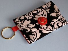 Key Ring Pouch Michael Miller Print Fabric by HugsandHolidays - SOLD
