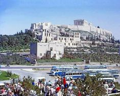 Greek Coaches in front of the Acropolis. 1967