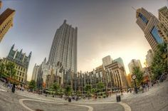 fish-eye view of Market Square in Pittsburgh by Dave DiCello