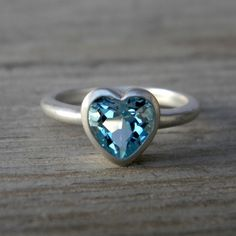 HEART On Your Sleeve Ring in Sky Blue Topaz & Sterling. Made To Order Heart Shaped Jewel Ring.