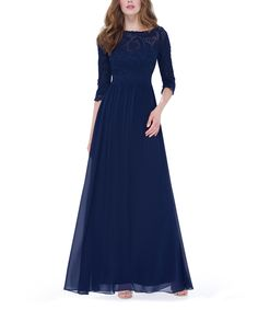 e685a551fcb Ever Pretty Navy Blue Lace Three-Quarter Sleeve Gown